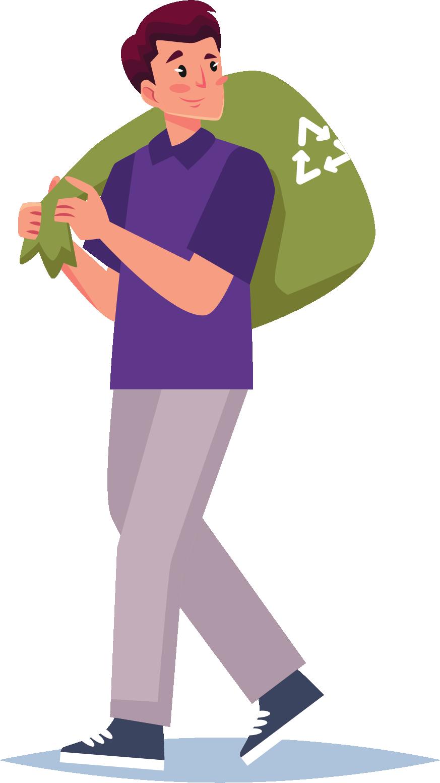 Cartoon photo of man recycling